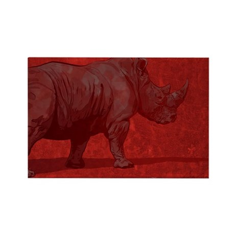 Rhino Red Rectangle Magnet (10 pack)