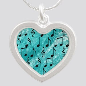 Music notes Silver Heart Necklace