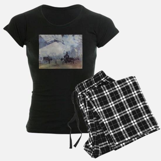 Claude Monet Train Station Fine Art Painti Pajamas