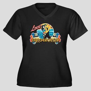 90210 Love D Women's Plus Size V-Neck Dark T-Shirt