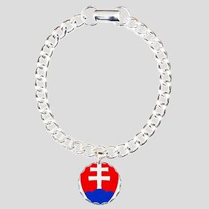 Slovakia Ice Hockey Embl Charm Bracelet, One Charm