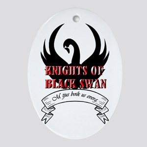 Black Swan Knight Logo Oval Ornament