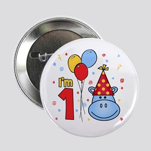 "Blue Hippo Face First Birthday 2.25"" Button"