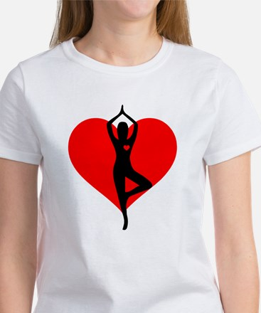 Red Heart Yoga Women's Classic White T-Shirt