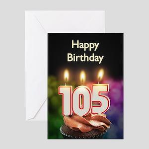 105th birthday, Candles on a birthday cake Greetin