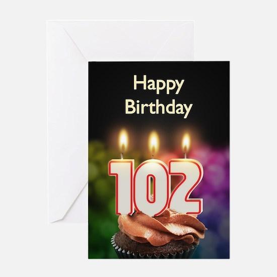 102nd birthday, Candles on a birthday cake Greetin