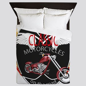 Classic Motorcycle on the road, Choppe Queen Duvet