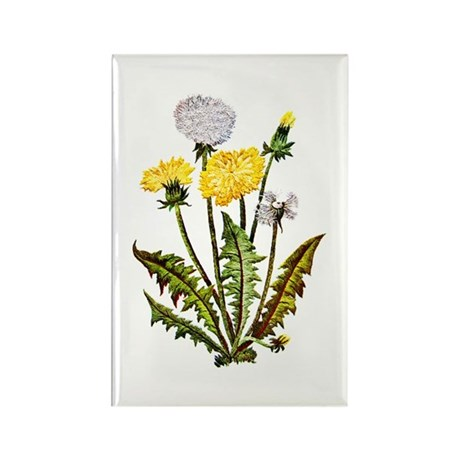 EMBROIDERED DANDELION Rectangle Magnet