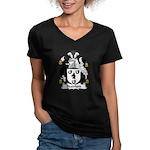 Bradford Family Crest  Women's V-Neck Dark T-Shirt