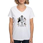 Bradford Family Crest  Women's V-Neck T-Shirt