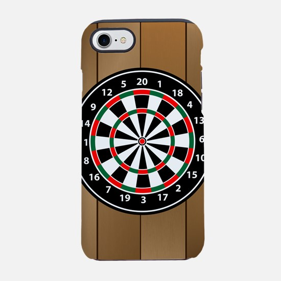 Darts Board On Wooden Backgrou iPhone 7 Tough Case