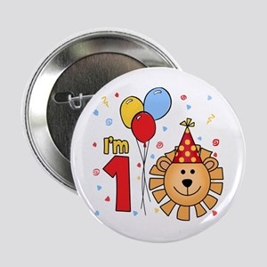 "Cool Lion Face First Birthday 2.25"" Button"