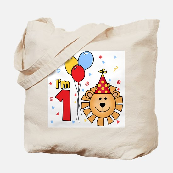 Cool Lion Face First Birthday Tote Bag