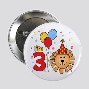 Cool Lion Face 3rd Birthday Button