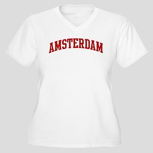AMSTERDAM (red) Women's Plus Size V-Neck T-Shirt