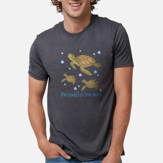 Personalized Sea Turtle Mens Tri-blend T-Shirt