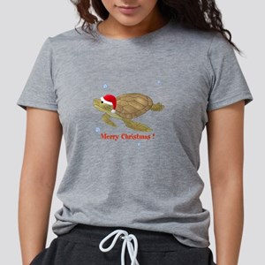 Personalized Christmas Turtle Womens Tri-blend T-S