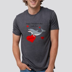 Personalized Dolphin Valentine Mens Tri-blend T-Sh