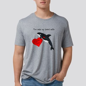 Personalized Whale Valentine Mens Tri-blend T-Shir