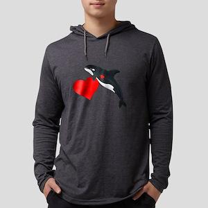 Valentine Killer Whale Mens Hooded Shirt