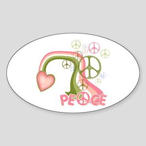 Peace And Love Rainbow Oval Sticker