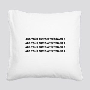 Add Custom Text/Name Square Canvas Pillow