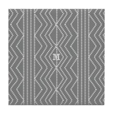 Custom Cream Grey Retro Pattern Tile Coaster