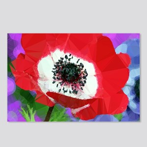 Red Poppy Low Poly Floral Postcards (Package of 8)