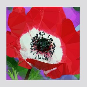 Red Poppy Low Poly Floral Tile Coaster