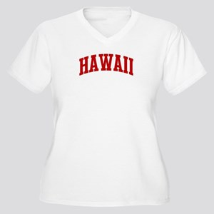 HAWAII (red) Women's Plus Size V-Neck T-Shirt
