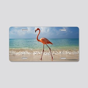 Flamingo On The Beach Aluminum License Plate