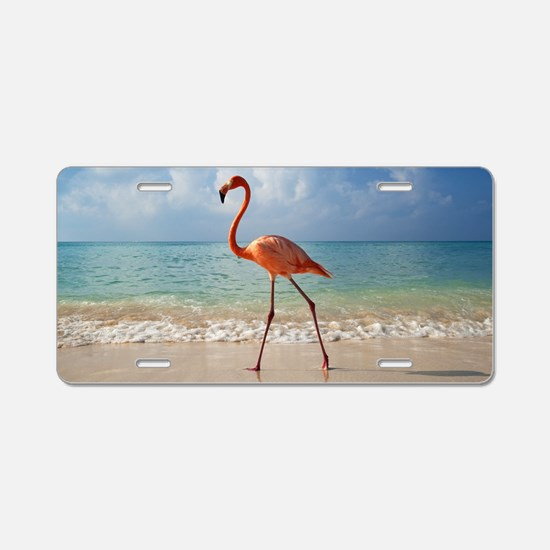 Flamingo On The Beach Aluminum License Plate