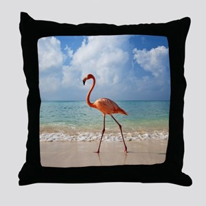 Flamingo On The Beach Throw Pillow