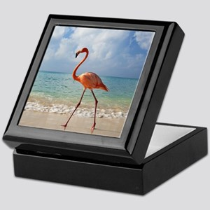 Flamingo On The Beach Keepsake Box
