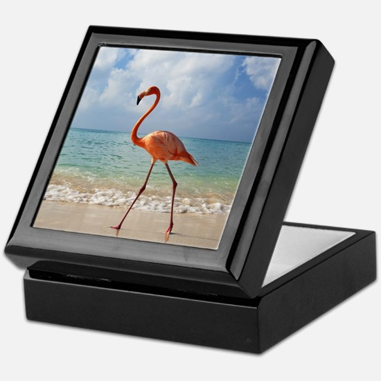 Flamingo On The Beach Keepsake Box