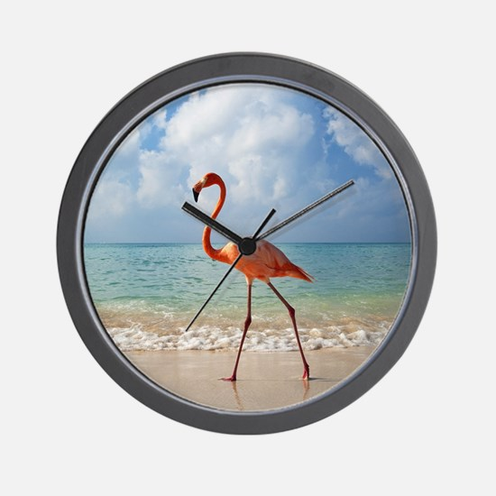 Flamingo On The Beach Wall Clock