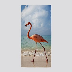 Flamingo On The Beach Beach Towel