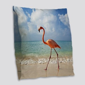 Flamingo On The Beach Burlap Throw Pillow