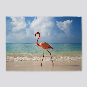 Flamingo On The Beach 5'x7'Area Rug