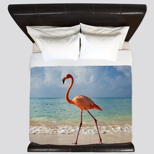 Flamingo On The Beach King Duvet