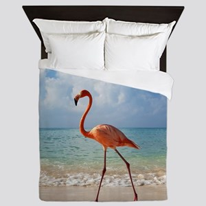 Flamingo On The Beach Queen Duvet