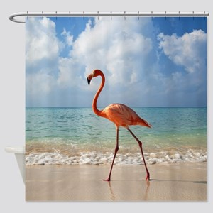 Flamingo On The Beach Shower Curtain
