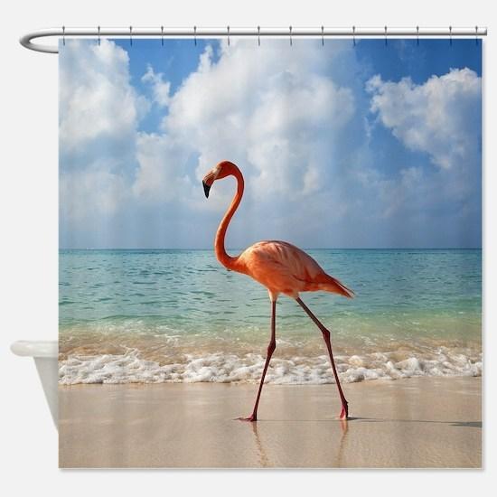 Flamingo On The Beach Shower Curtain