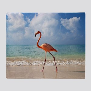 Flamingo On The Beach Throw Blanket