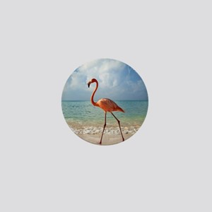 Flamingo On The Beach Mini Button