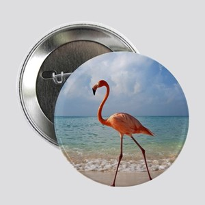 "Flamingo On The Beach 2.25"" Button (10 pack)"