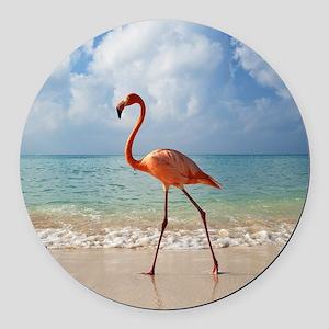 Flamingo On The Beach Round Car Magnet