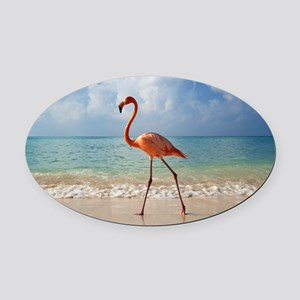 Flamingo On The Beach Oval Car Magnet