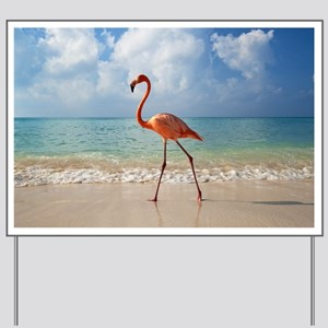 Flamingo On The Beach Yard Sign