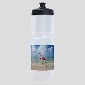 Flamingo On The Beach Sports Bottle